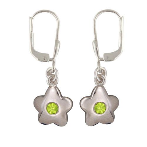 Blüte Ohrhänger mit Kristall hellgrün