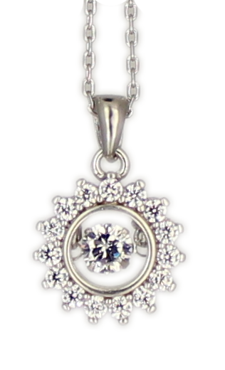 Kette rd., große Zirkonia Dancing Diamond rhod.925 Silber 45cm + 3,5 cm