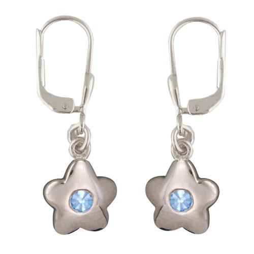 Blüte Ohrhänger mit Kristall blau