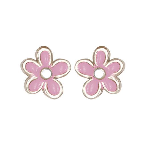 Blümchen Ohrstecker rosa/weiß