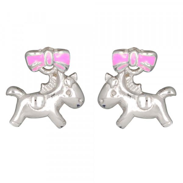 Pferd Ohrstecker silber und rosa