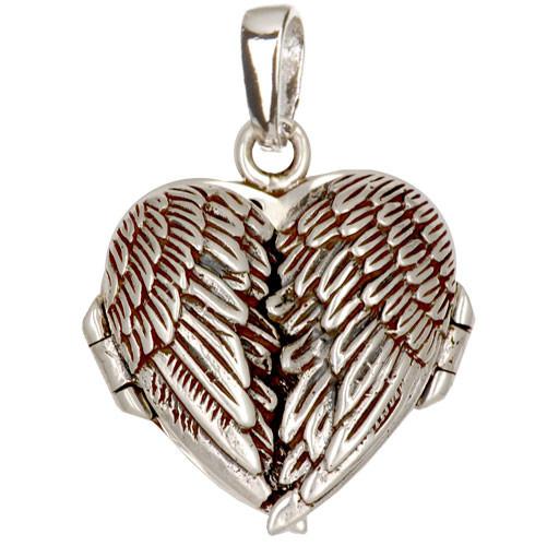 Flügel Herz Medaillon