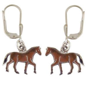 Pferd Ohrhänger silber und braun