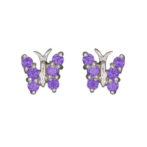 Schmetterling Ohrstecker mit Kristallen lila