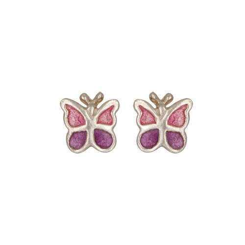 Schmetterling Ohrstecker pink/lila