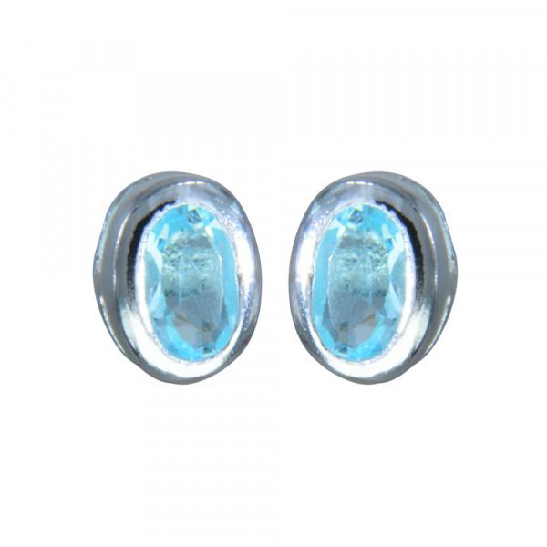 OS oval ECHT Blue Topaz 925 Silber