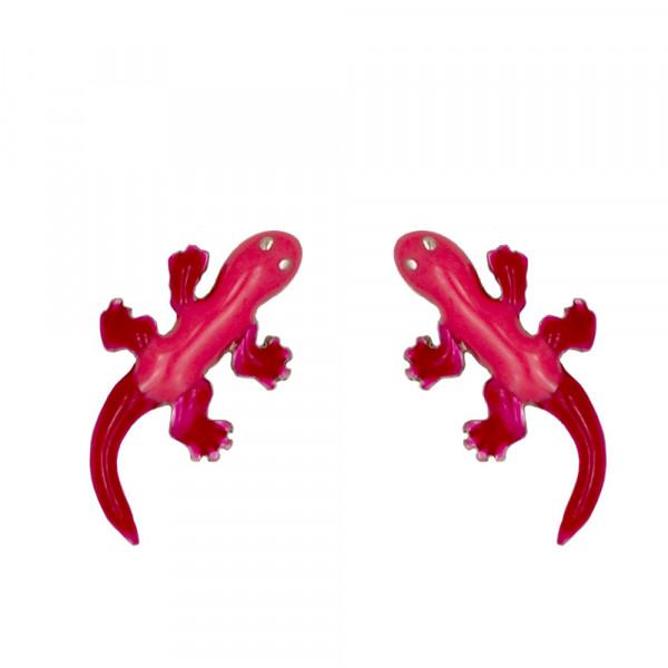 Eidechse Ohrstecker rot