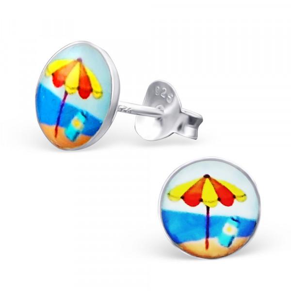 OS Button mit Sonnenschirm am Meer 925 Silber