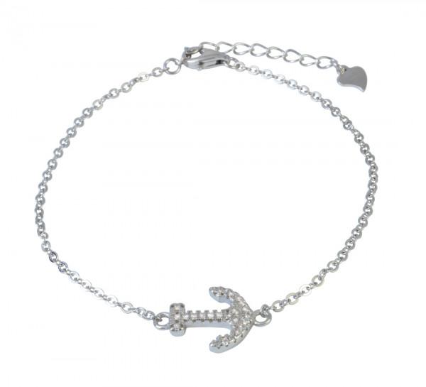 AB Anker Glitzer 16 cm + 3,5 cm Verlängerung rhodiniert 925 Silber