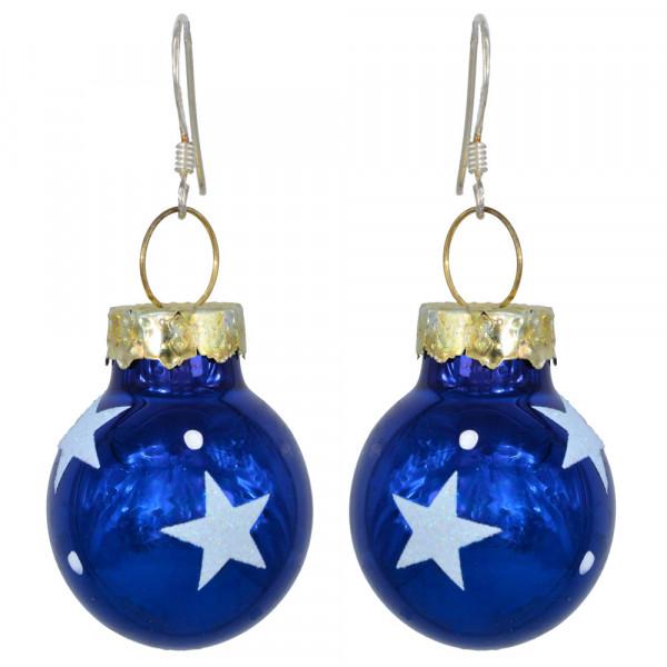 OH Christbaumkugel blau mit weißen Sternen