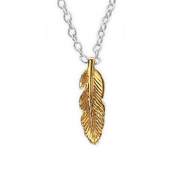 Kette vergoldete Feder 45 cm 925 Silber