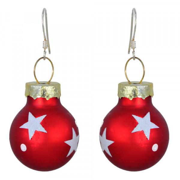 OH Christbaumkugel rot mit weißen Sternen