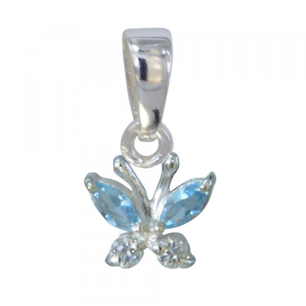 Schmetterling Anhänger aus Kristallen weiß/blau