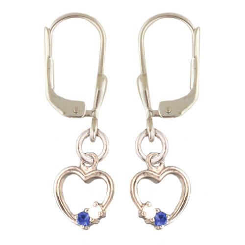 Herz mit Kristallen Ohrhänger hellblau