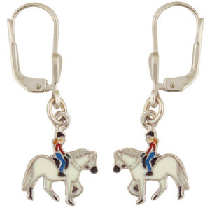 Pferd mit Mädchen Ohrhänger silber und weiß