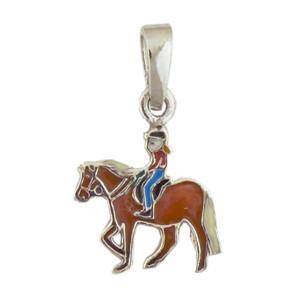 Pferd mit Mädchen Anhänger silber und fuchsfarben