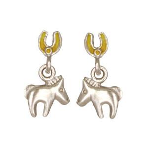 Pferd Ohrhänger silber und gold