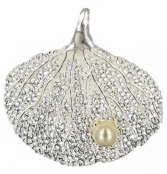 AH Korallenfächer mit Perle 30 mm 925 Silber e-coated
