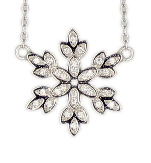 Kette rd. Schneeflocke rhod.925 Silber 45 + 3,5 cm Verlängerung