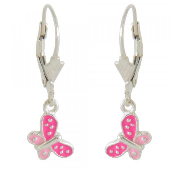 Ohrhänger 925 Silber Schmetterling pink + rosa