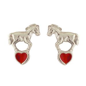 Pferd Ohrstecker silber und rot