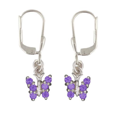 Schmetterling Ohrhänger mit Kristallen lila