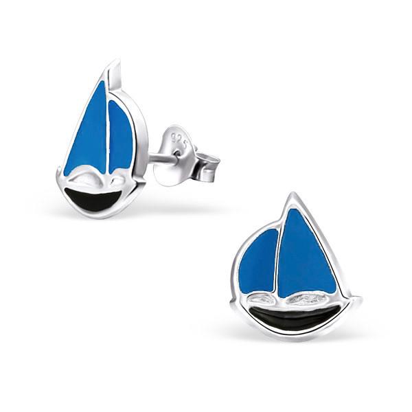 OS Segelboot blau/schwarz 925 Silber