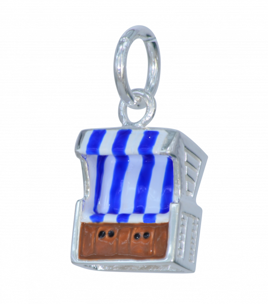 AH Strandkorb blau gestreift 925 Silber