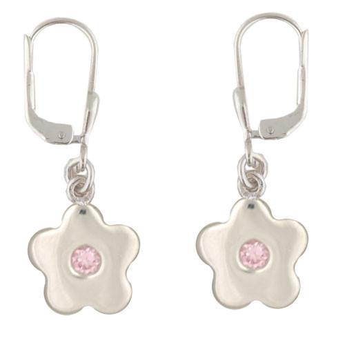Blüte Ohrhänger mit Kristall rosa