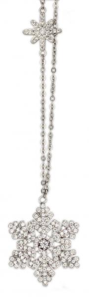 Kette Schneeflocke rhod.925 Silber 45 cm + 3,5 cm