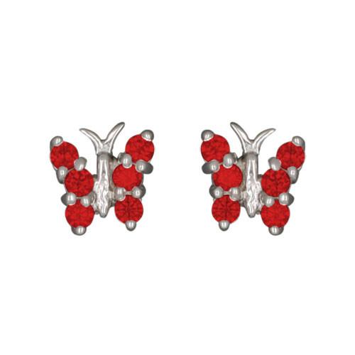 Schmetterling Ohrstecker mit Kristallen rot