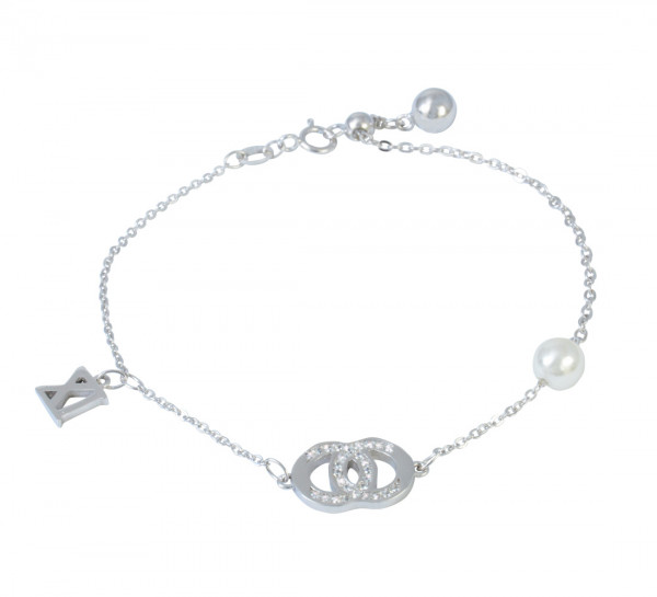 AB 2 Kreise Glitzer 19 cm - 1 cm Verkürzung rhodiniert 925 Silber