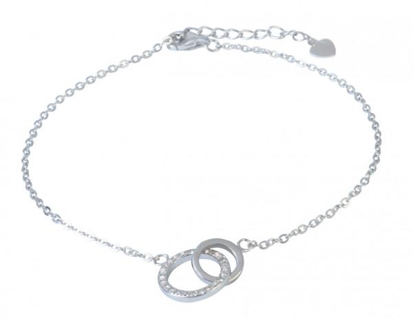 AB 2 verschlungene Kreies mit Glitzer 19 cm + 3,5 cm Verlängerung rhodiniert 925 Silber