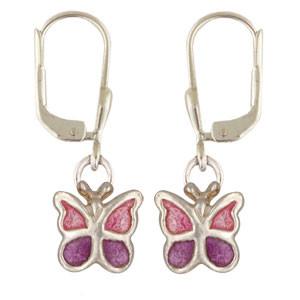 Schmetterling Ohrhänger lila/pink