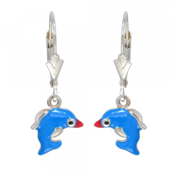 OH Delfin 3 D blau emailliert 925 Silber