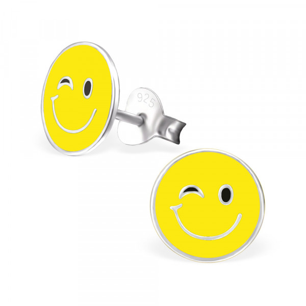 OS Button Emoticon Zwinker gelb 925 Silber