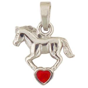 Pferd Anhänger silber und rot
