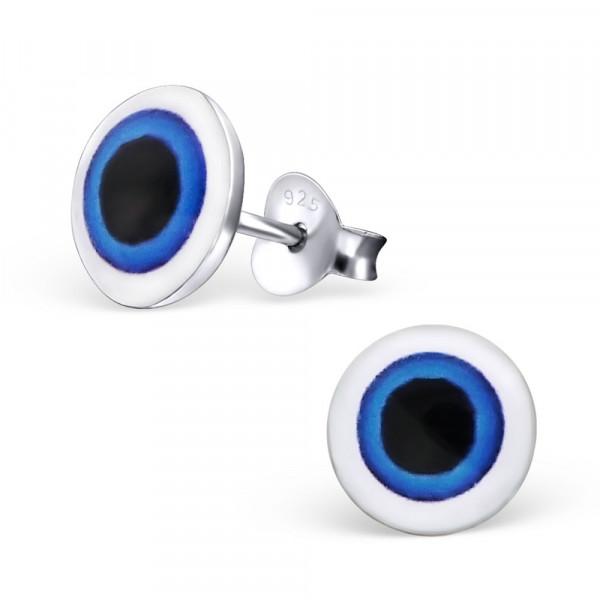 OS Button blau-schwarz 925 Silber