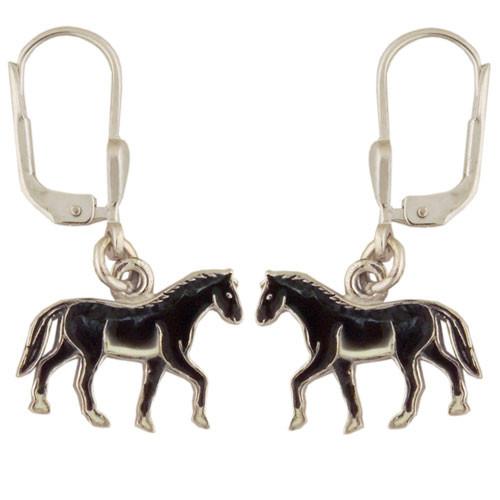 Pferd Ohrhänger silber und schwarz