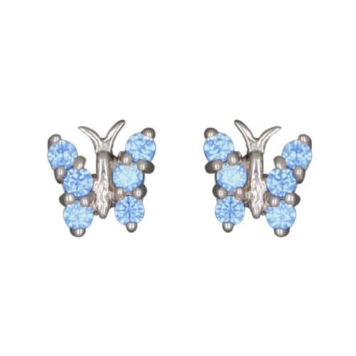 Schmetterling Ohrstecker mit Kristallen blau