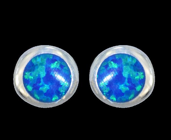*OS 6 mm blauer Kunstopal 925 Silber