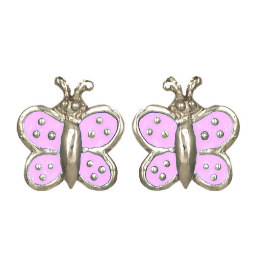 Schmetterling Ohrstecker rosa/silber