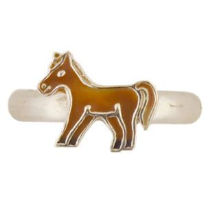 Pferd Ring silber und dunkelbraun