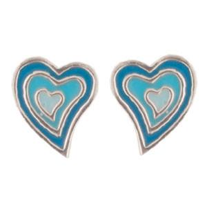 Herz Ohrstecker blau