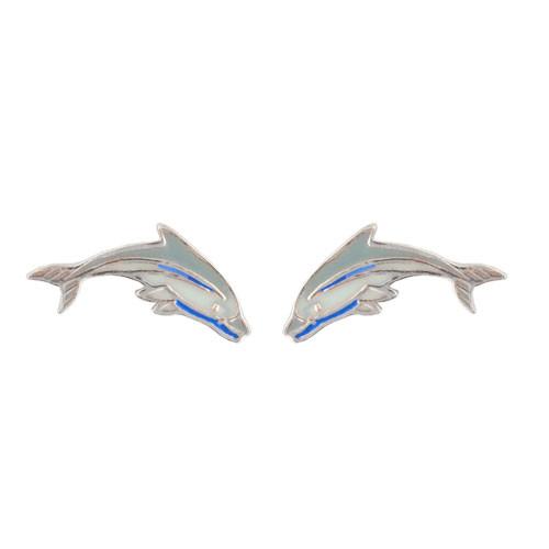 *Delphin Ohrstecker blau