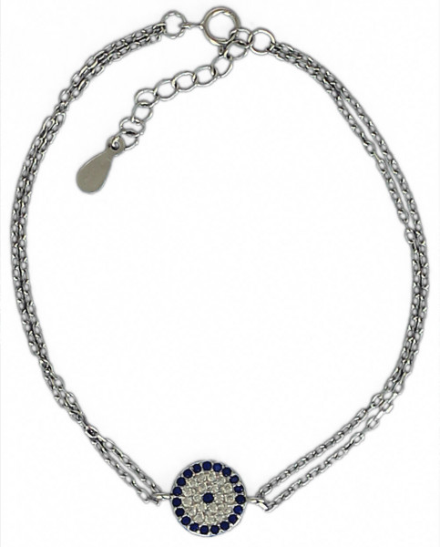 AB Rund blau/weiße Glitzer 16 cm + 3,5 cm Verlängerung rhodiniert 925 Silber
