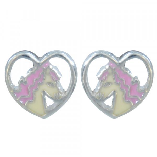 Ohrstecker 925 Silber Pferdekopf im Herz weiß/rosa