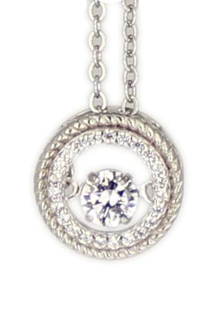 Kette rd., kl. Zirkonia Dancing Diamond rhod.925 Silber 45 cm + 3,5 cm