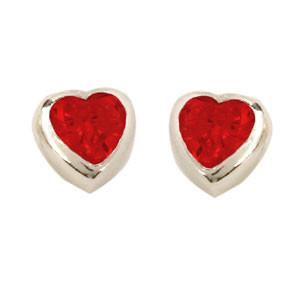 Herz Ohrstecker mit Kristall rot