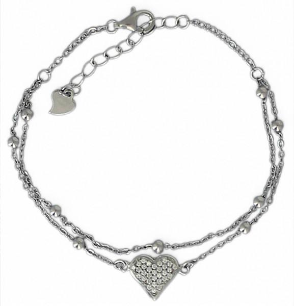 AB Herz Glitzer 16 cm + 3,5 cm Verlängerung rhodiniert 925 Silber
